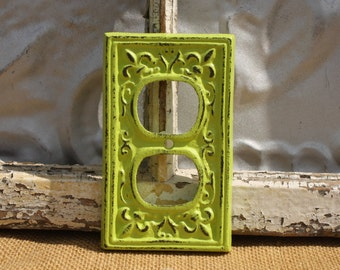 Outlet Cover/ Cast Iron Fleur de Lis/ Pink Shabby Chic Outlet / Light Switch Cover/ Lighting/ Home Decor