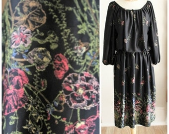 Vintage 70's Boho Peasant Black Floral gypsy Polyester Dress by Liz Roberts