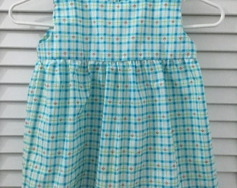 Blue Daisy Check Dress