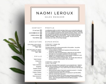 Creative Resume Template for Word & Pages | Blush CV Template ( 1 and 2 Page Resumes, Cover Letter and Icon), Pink Resume | Instant Download