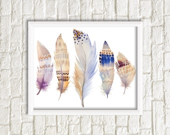 Feathers Print, Printable Art, Feather Art, five Feathers, Wall Decor, instant Download, Wall Art, Home Decor, watercolor feathers print