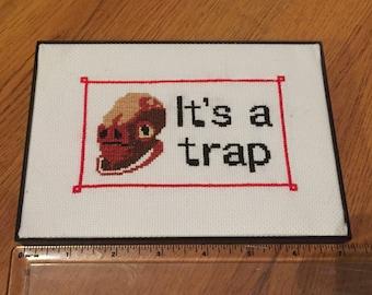 It's A Trap - Admiral Ackbar - Framed Star Wars Cross Stitch
