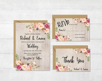 Rustic Printable Floral Boho Wedding Invitation Suite, Boho Wedding Invite, Floral Wedding Invite, Peonies Wedding Invite, Download, 110-A