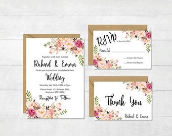 Floral Printable Boho Wedding Invitation Suite, Boho Wedding Invite, Floral Wedding Invite, Peonies Bohemian Wedding Invite, Download, 110-W