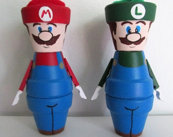 Hand-Painted, Miniature Clay Pot Shelf-sitter Figurines - Mario and Luigi, set of 2