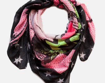 POW! Comics Print scarf, Star print scarf, square Printed scarf, light scarf, Summer scarf, Neon scarf
