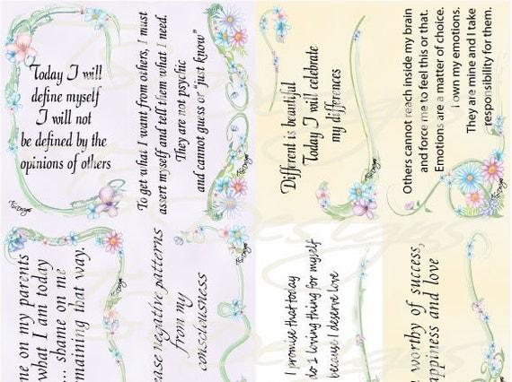 Affirmations- Self Image Affirmation Cards- Floral Design