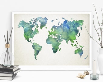 Watercolor world map, Printable map, Blue and green, Office ar school wall art