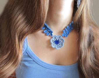 Something Blue For Bride, Blue Wedding jewerly, Crochet Jewerly, Blue Knitted Set,Cute Blue Choker,Knitted Lace Choker,Blue Lace Wedding Set