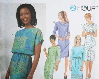 Sewing pattern womens 2 hour dress Simplicity 9689 UNCUT Size 8-14 (Bust 31.5-36), jiffy style straight dress, neckline and sleeve variation