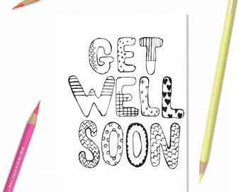 Sympathy card diy etsy for Get well soon card coloring pages