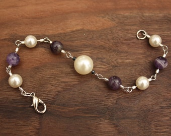 up-cycled handmade purple bead & white pearl bracelet