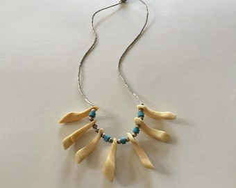 Cool Stylish Vintage Turquoise Animal Bone and Silver Bead Necklace