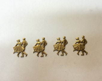 Brass Stamping - Dancing Couple - Set of 4