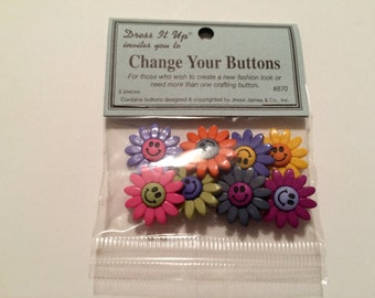 Jesse James Dress It Up Change Your Buttons - Smiling Flowers - 1 Pack