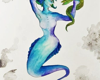 Watercolor Mermaid and Eel