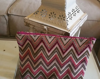 Herringbone fabric Keychain clutch Fuchsia/cream