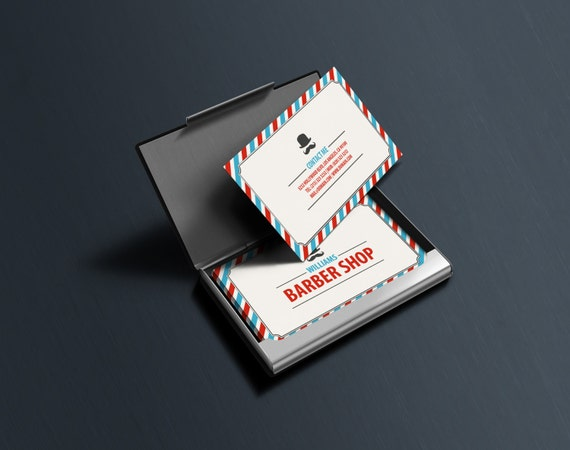 Classic Barber Shop Business Cards Template PSD INSTANT - Barber shop business card templates
