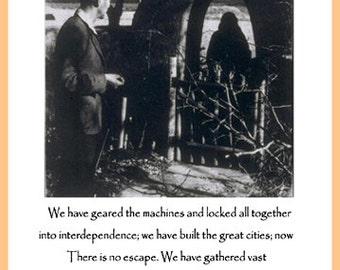 Robinson Jeffers Quote Poster - We have geared the machines - ecology quote