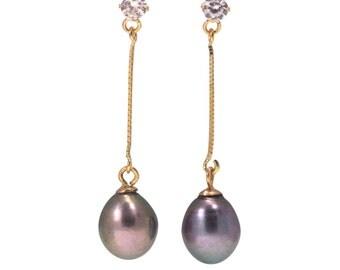 gray pearl earrings, Gold Pearl Earrings, 14k pearl Earrings, gold jewelry, pearl jewelry, pearl dangle Earrings, gift for her, dangle pearl