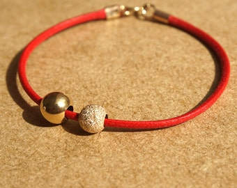 Leather bracelet, Gold Bracelet, Gold and Leather jewelry, 14k Gold Beads, Solid Gold Bracelet, Red Leather Bracelet, Leather Bracelet