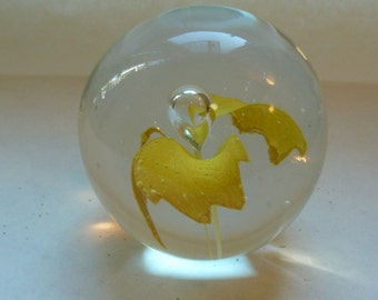 Vintage Glass Paperweight - Trapped Bubble Paperweight - Yellow Flower Paperweight - Blown Glass Paperweight