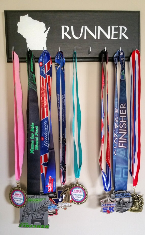 Handmade Running Medal Holder Wisconsin