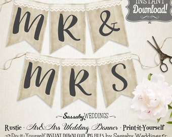Rustic Mr & Mrs Wedding Banner - INSTANT DOWNLOAD - Rustic Country Love Wedding Photo Prop Printable Banner do-it-yourself