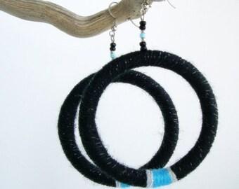 Large Bohemian Yarn Earrings