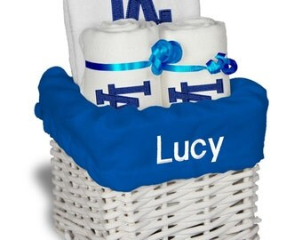 Personalized houston astros baby gift basket bib 2 burp personalized los angeles dodgers baby gift basket bib 2 burp cloths small negle Choice Image