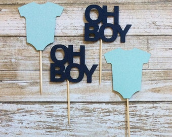 24 Baby Boy Cupcake Toppers