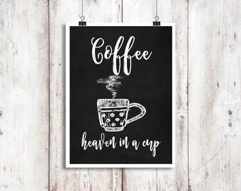 Coffee Chalkboard Print, Chalkboard Kitchen Art Print, Kitchen Chalkboard Decor, Coffee Wall Print, Coffee Art Decor, Coffee Lovers Print