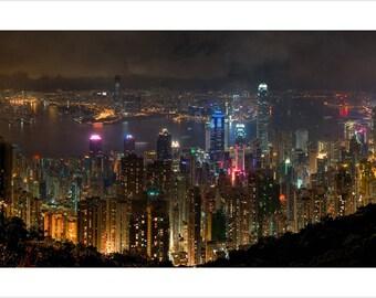 Hong Kong City At Night Poster 24x36 Port Building Lights Cloudy Skies Rare