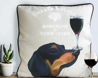 Wine print Dachshund pillow cover Dachshund gift wine gift for wine lover Wiener dog pillow wiener dog cushion cover sausage dog pillow