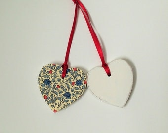 Hanging Heart Decoration, Blue & Red Floral Wooden Heart, Home Decor, Gift Tag