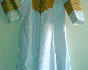 Unisex white couture clergy robe/gown with gold embroidery