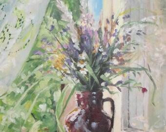 Still life painting original, contemporary painting, acrylic painting, small painting, flower painting, wedding gift