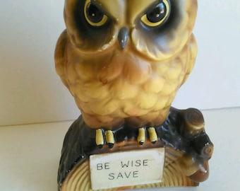 Vintage 1960s Ceramic Owl Bank