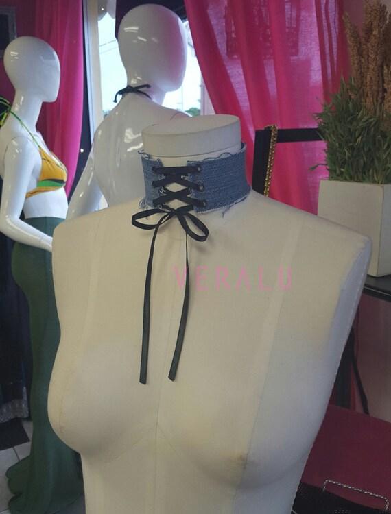 VERALU Denim corset choker