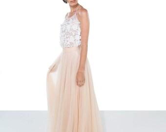 Lace wedding top / Bridal Separates / sheer lace wedding top / 3D flower lace wedding top / Wedding Top /lace wedding top / 'CAMi'