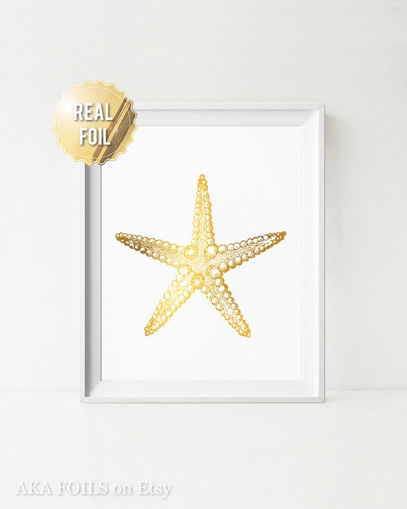 Gold Starfish Wall Decor : Gold starfish wall art decor real foil