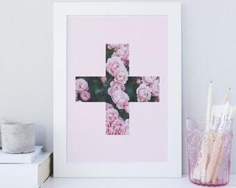 Cross print, swiss Cross art print, Geometric print, printable wall art, Abstract, Chic, Minimalist art, Floral, Pink, Roses, Fashion art