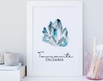 December birthstone art print, birthstone wall art, december printable, tanzanite art print, gemstone art print, blue crystal art