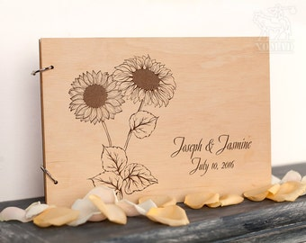 Custom Wedding Guest Book, Wood Rustic wedding guest book,  guestbook, sunflower, Laser Engraved, Custom Wedding Album, Gift for Couple