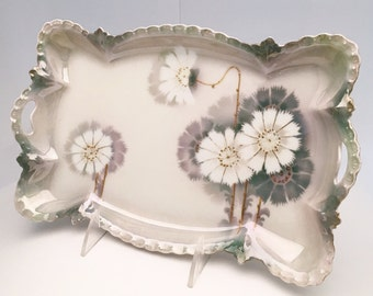 Victorian Era Porcelain Vanity Tray, Asian Inspired Hand Decorated Luster Ware with Raised Gilding, Stamped Germany