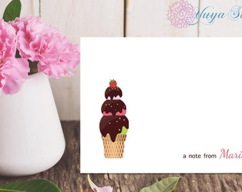 Personalized ice cream Stationery / Custom Thank You cards/ ice cream Stationery Set / Custom ice cream notes/ Set of 12 Kid note cards