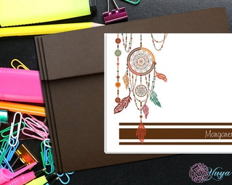 Personalized Boho Stationery / Custom dream catcher Stationery /Tribal Stationery Set / Dream catcher Thank You cards / Set of 12