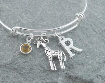 Giraffe bracelet, silver giraffe charm, giraffe jewelry, initial bracelet swarovski birthstone, personalized jewelry, animal jewelry, safari