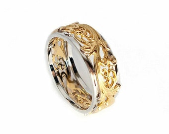 Gold wedding band. Wedding bands women. Wedding band for women.Gold wedding ring. Wedding band for her. Unique wedding ring.
