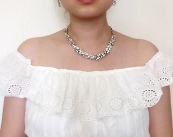 Vintage Inspired Crystal Bridal Jewelry Set, Rhinestone Necklace, Wedding Jewelry